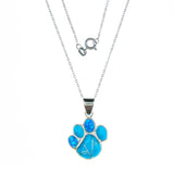 Sterling Silver Inlay Turquoise Paw Necklace