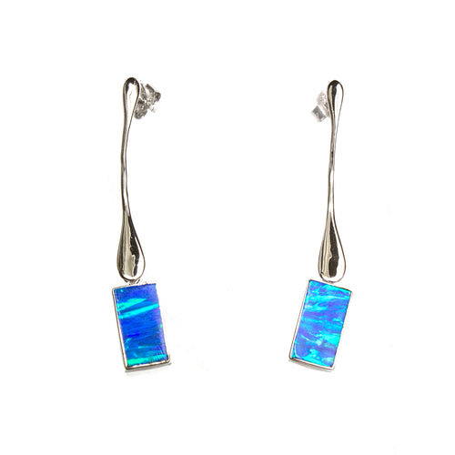 SS Hanging Created Opal Rectangle Earrings