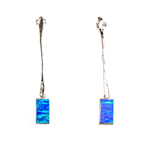 SS Long Hanging Created Opal Rectangle Earrings