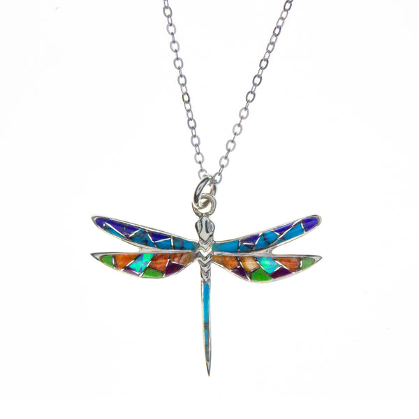 Sterling Silver Inlay Dragonfly Necklace