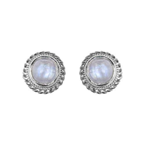 Sterling Silver Rainbow Moonstone Stud Earrings
