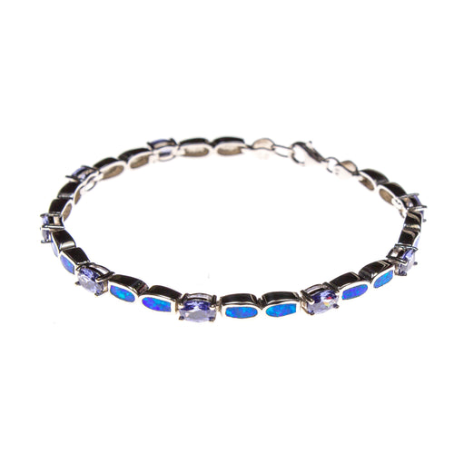 Sterling Silver Tanzanite and Blue Created Opal Link Bracelet