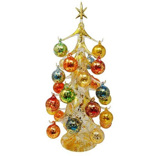 "19"" Gold Venetian Style Christmas Glass Tree w/ 26 Ornaments"