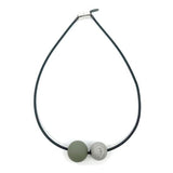 Black Recycled Piano Wire Necklace w/ Silver Druzy & Olive Rubber Ball