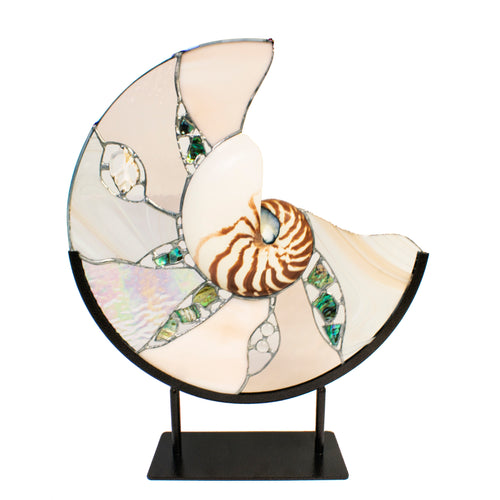 Champagne Stained Glass and Nautilus Shell Sculpture