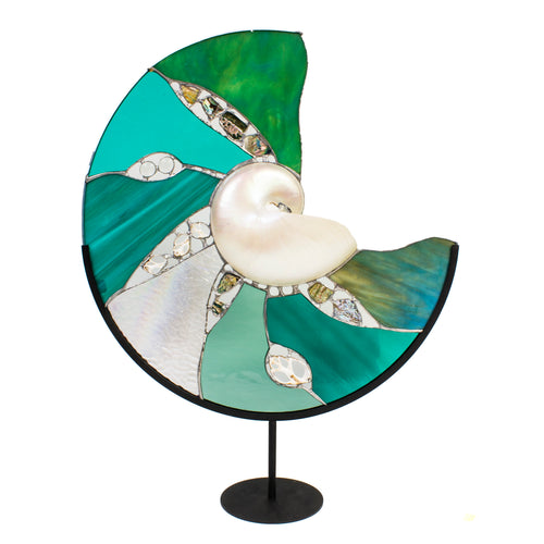 Seafoam Stained Glass Nautilus Shell Sculpture