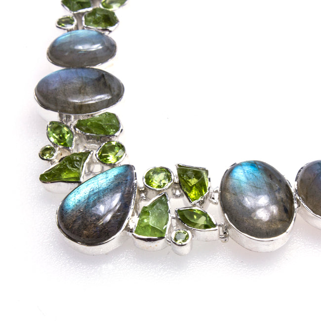 Sterling Silver Labradorite & Peridot Necklace & Earring Set