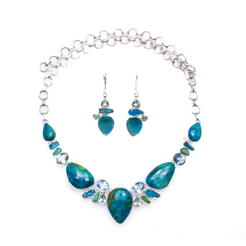 Sterling Silver Chrysocolla Apatite & Blue Topaz Necklace & Earrings Set