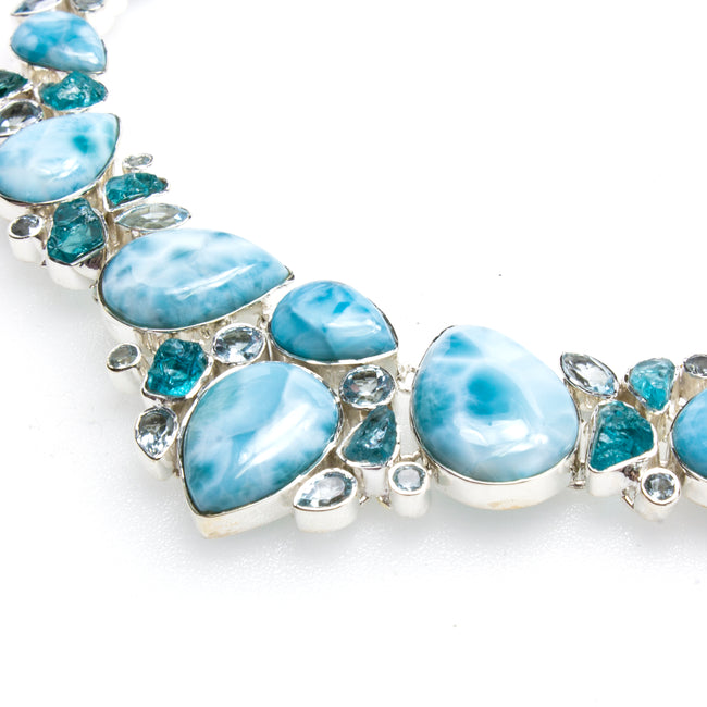 Sterling Silver Larimar Apatite & Blue Topaz Necklace & Earring Set