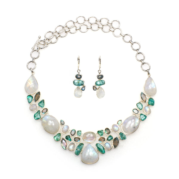 Sterling Silver Rainbow Moonstone Apatite & Labradorite Necklace & Earrings Set