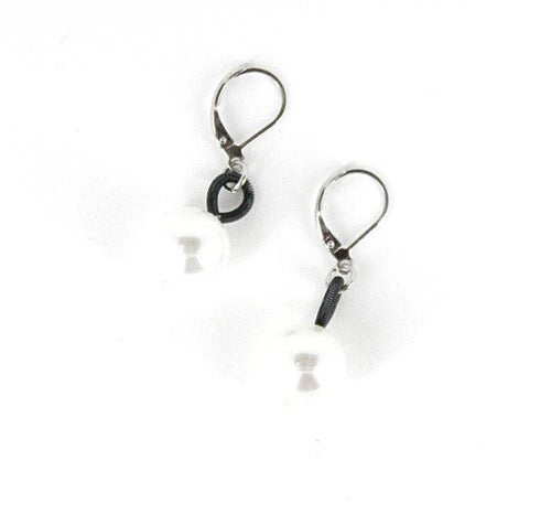Recycled Piano Wire Earrings w/ Faux Pearl