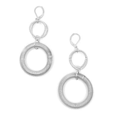 Recycled Piano Wire Silver Loop Earrings