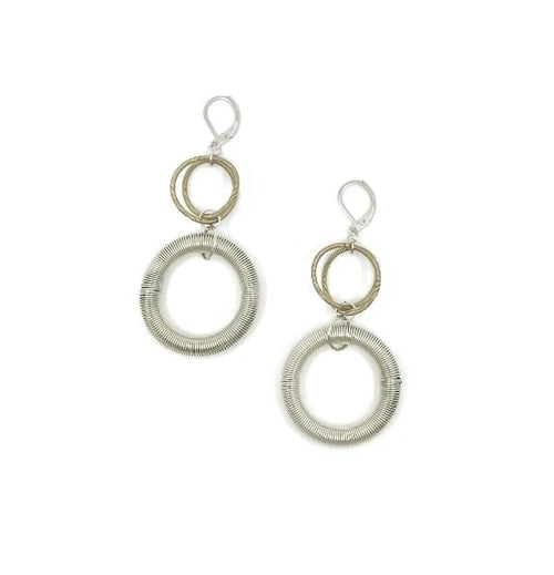 Recycled Piano Wire 2 Row Loop Earrings in Silver & Bronze