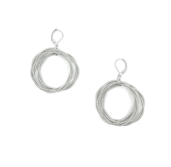 Recycled Piano Wire Twist Loop Earrings in Silver
