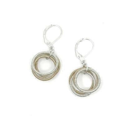 Recycled Piano Wire Loop Earrings in Champagne & Silver