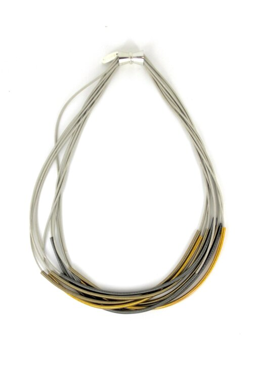 Silver Recycled Piano Wire Necklace w/ Multi-color Sleeves