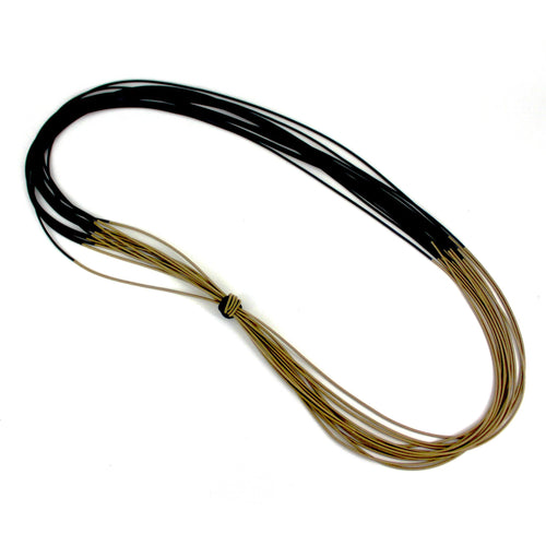 Long Bronze & Black Two-tone Recycled Piano Wire Necklace w/ Knot