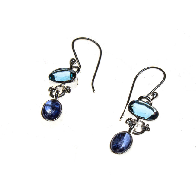 SS London Blue Topaz and Kyanite Dangle Earrings