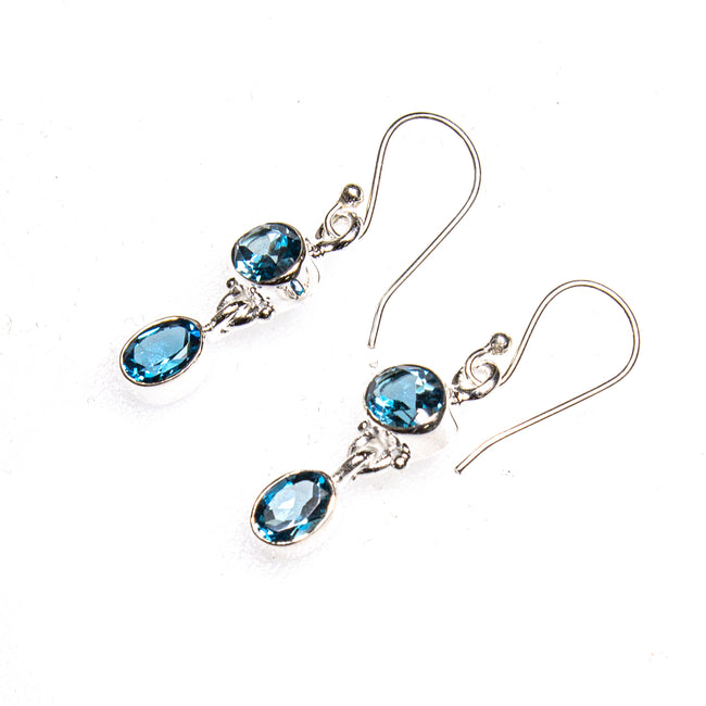 SS 2 London Blue Topaz Drop Earrings