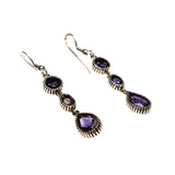 SS 3 Stone Iolite/Onyx Drop Earrings