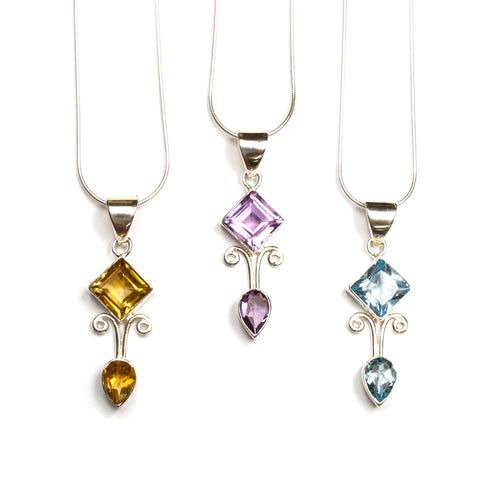 SS Diamond/Pear Citrine/Amethyst/Blue Topaz Necklace