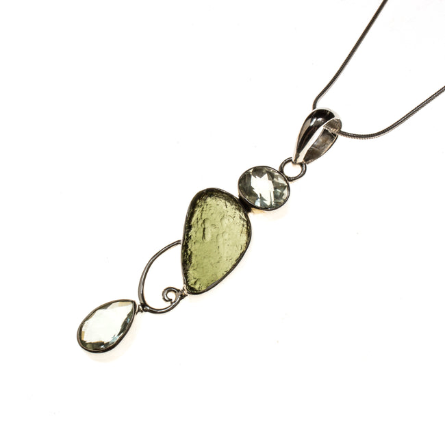 Sterling Silver Moldavite and Green Amethyst Necklace