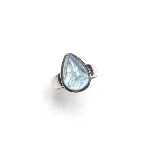 SS Pear Aquamarine Cabochon Ring (Size 9)