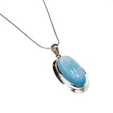 Silver Long Oval Aquamarine Sterling Necklace