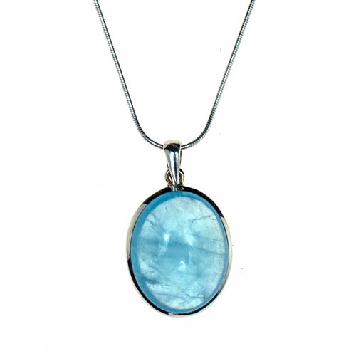 Sterling Silver Aquamarine Cabochon Necklace