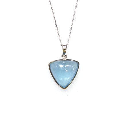 SS Laser Cut Blue Topaz Rectangle Pendant/Necklace