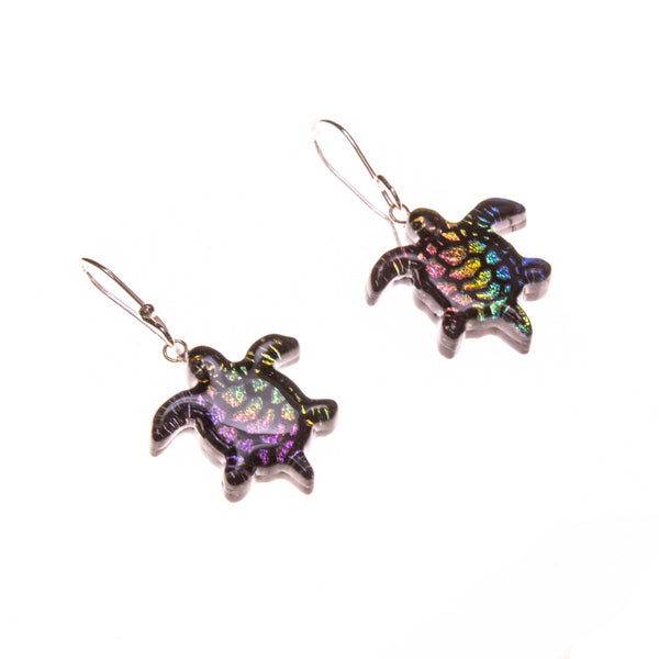 Sterling Silver Rainbow Dichroic Glass Turtle Earrings