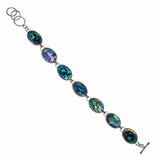 Nickel Plated Oval Abalone Link Bracelet