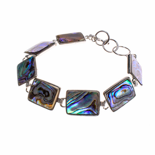 Nickel Plated Rectangle Abalone Link Bracelet