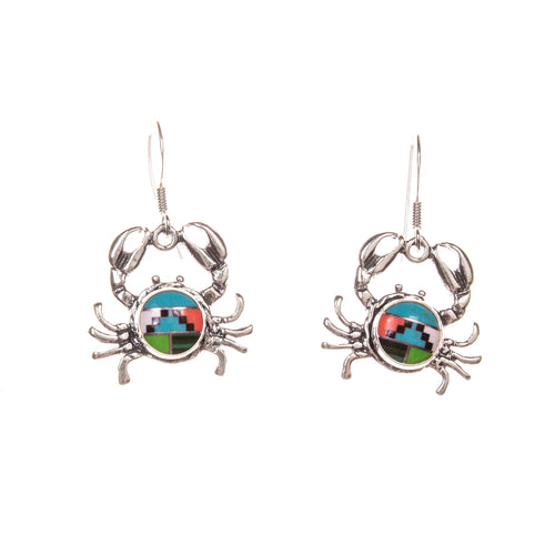 Sterling Silver Round Crab Bright Inlay Earrings