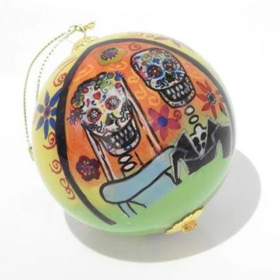 Hand-painted Day of the Dead Wedding Ornament