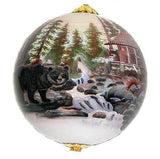 Hand-painted Bear and Cabin Scene Ornament