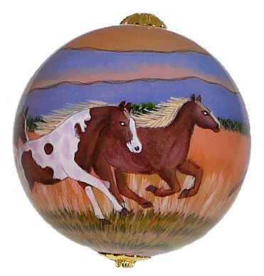 Hand-painted Wild Horses Ornament