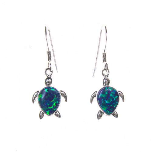 Sterling Silver Created Opal Sea Turtle Earrings