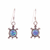Sterling Silver Round Opal Turtle Earrings