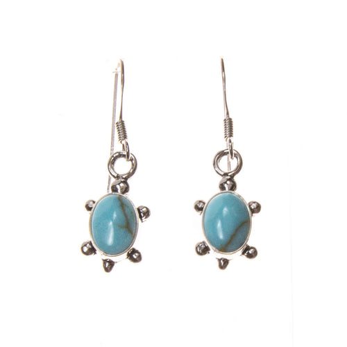Sterling Silver Turquoise Oval Turtle Earrings