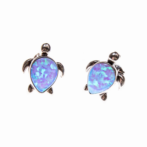 Sterling Silver Created Opal Sea Turtle Post Earrings