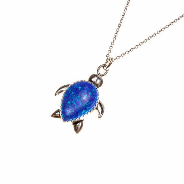 Sterling Silver Created Blue Opal Turtle Necklace