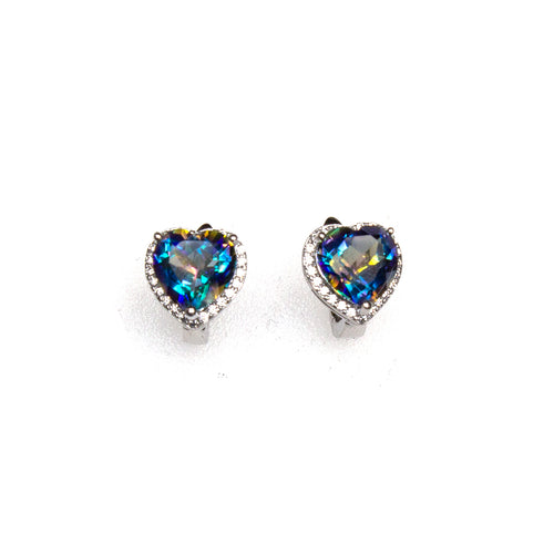 SS Mystic Topaz & CZ Heart Hinge-back Stud Earrings
