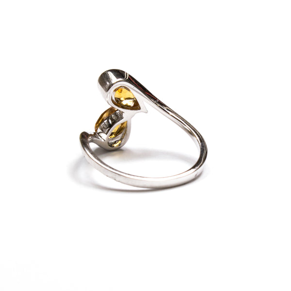 SS 2 Pear Citrine Ring Size 6