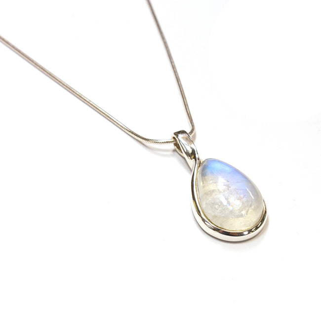 SS Rainbow Moonstone Pear Twist Bail Necklace