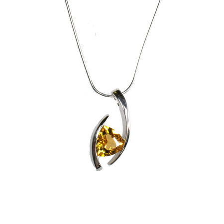 Sterling Silver Pearl Citrine Necklace