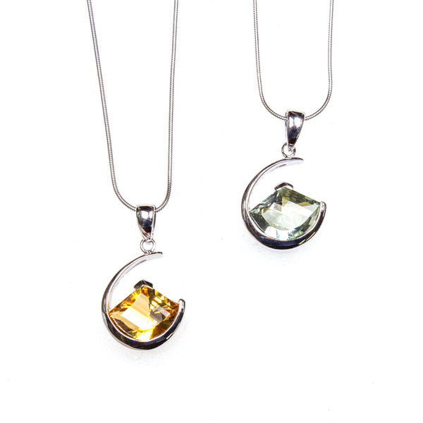 SS Citrine/Green Amethyst Lens Cut Crescent Necklace
