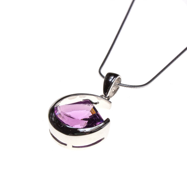 Sterling Silver Amethyst Fan Lens Cut Necklace