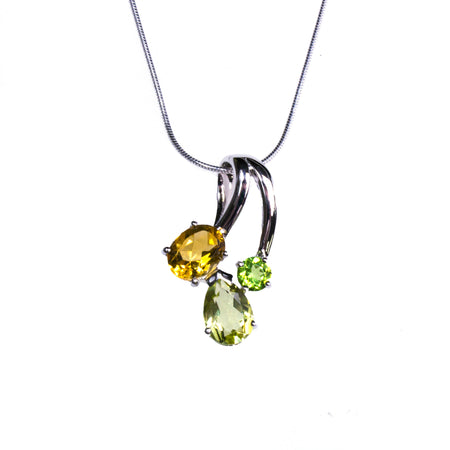Sterling Silver Resin Sunflower Pear Pendant