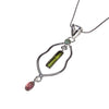 Sterling Silver Tourmaline Pink/Green Necklace